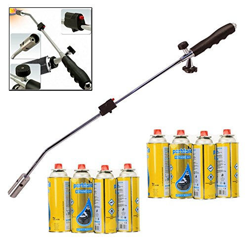 Butane Gas Weed Wand Blowtorch Garden Torch Weeds Killer Burner + 8 Gas Refills Test