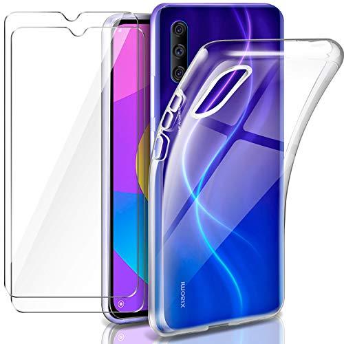 Leathlux Funda Xiaomi Mi 9 Lite + 2 x Protector de Pantalla Xiaomi Mi 9 Lite, Transparente TPU Silicona Funda + Cristal Vidrio Templado Protector de Pantalla y Caso Xiaomi Mi 9 Lite