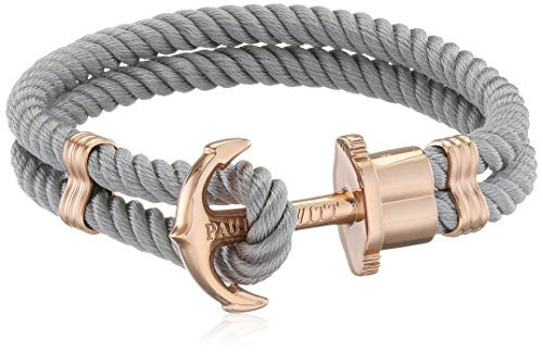 PAUL HEWITT Damen Ankerarmband PHREP mit Nylon Band in Grau und Anker aus IP Roségold PH-PH-N-R-Gr-L
