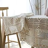 HOMEJYMADE Mantel Calado,Ganchillo Hecho a Mano Perforada Cubierta de Tabla Mantel de algodón Crema Estilo Rural-A 100x140cm(39x55inch)