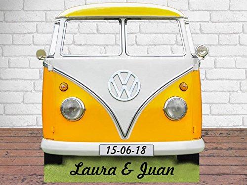 Oedim Photocall Furgo Hippy Volkswagen Personalizado 1,50x1,50m | Photocall Furgoneta Hippie para Decoracion de Fiestas, Eventos, Cumpleaños. | Photocall Elegante y Resistente