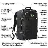 Cabin Max Backpack Flight Approved Carry On Bag Massive 44 litre Travel Hand Luggage 55x40x20 cm - Metz Black Bild 5