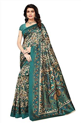 Oomph! Women's Mysore Silk Printed Kalamkari Sarees - Teal Blue
