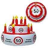 Preis am Stiel Geburtstags-Torte aufblasbar 50