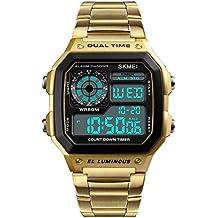 Skmei Reloj Digital Hombre Acero Dorado de Lujo Cuadrado Retro Diseño Sumergible Led Relojes Deportivos de