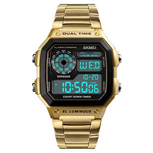 80d871c48789 Skmei Reloj Digital Hombre Acero Dorado de Lujo Cuadrado Retro Diseño  Sumergible Led Relojes Deportivos de Pulsera para Hombres con Cuenta atrás