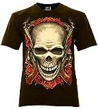 Classic Wear Rock Eagle International Two Gun´s Skull Herren T-Shirt Schwarz Gr. 3XL Glow in The Dark