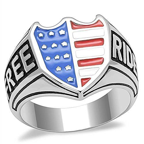 ISADY - US Free Biker - Herren-Ring - Edelstahl - Email multicolor «FREE RIDE» - T 70 (22.3)