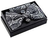 Retreez Herren Gewebte vorgebundene Fliege Paisley Kunst Muster 13 cm und Einstecktuch und Manschettenknöpfe im Set, Geschenkset, Weihnachtsgeschenke - silber auf schwarz