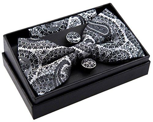 Retreez Herren Gewebte vorgebundene Fliege Paisley Kunst Muster 13 cm und Einstecktuch und Manschettenknöpfe im Set, Geschenkset, Weihnachtsgeschenke - silber auf schwarz -