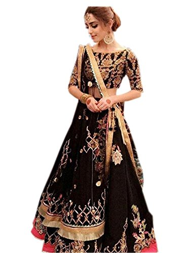 KajalFashion Women's Silk BLACK Color Heavy Bridal Wedding Lehenga Choli