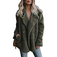 Damen Winterjacke Wintermantel Langer Jacke Teddy-Fleece Strickjacke Outwear Frauen Winter Warm Steppjacke Mantel Trenchcoat Coat