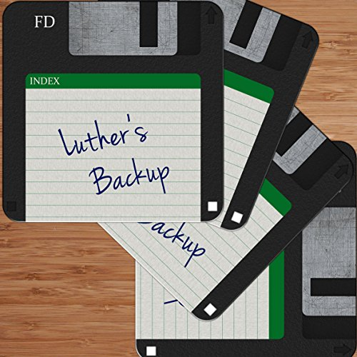 Price comparison product image Luther's Backup - Retro Floppy Disc Design Personalised Hardboard Coaster (4 Pack) Gift