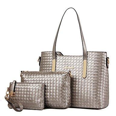 Donne Borsa a Tracolla Tote Bag Set in pelle di brevetto All Seasons Shopping Casual Ufficio formale & Carriera canna ZipperGold nero blu beige,Beige Blue