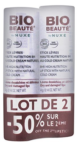 Bio Beauté Stick Lèvres Haute Nutrition 8H au Cold Cream Naturel 4 g Lot de 2 Sticks