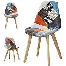 2 Chaises Design Scandinave Patchwork