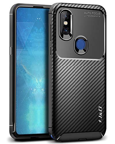 J und D Kompatibel für Xiaomi Mi Mix 3 Hülle, [Carbon Fiber Pattern] [Leichtgewichtig] [Fallschutz] Stoßfest TPU Slim & Anti-Kratzer Weich Hülle für Xiaomi Mi Mix 3 - Schwarz