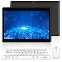 "Tablet with Keyboard,10.1"" Inch Tablet PC 32 GB Quad Core Processor Expandable upto 256 GB Tablet Computer Dual SIM, IPS HD Screen, Google Play, Mouse included"