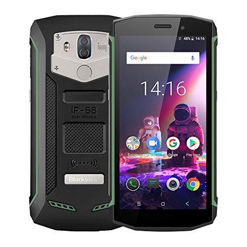 Blackview BV5800 Pro 4G Outdoor Handy mit IP68 und Staubdicht, 5.5 Zoll 18: 9 Bildschirm, Android 8.1 2GB/16GB Quad Core, 5580mAh Schnellladung, Dual Rükkameras (Grün) Drahtlose Ladung unterstüzt