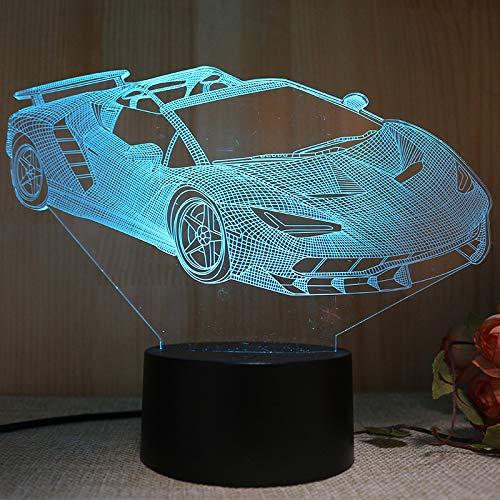 Sportwagen 3d Night Lampe Stereo-vision Lampe Licht Holiday Geschenk Kinder Spielzeug Dekorative Lampe Normaler schwarzer Touch + Fernbedienung -