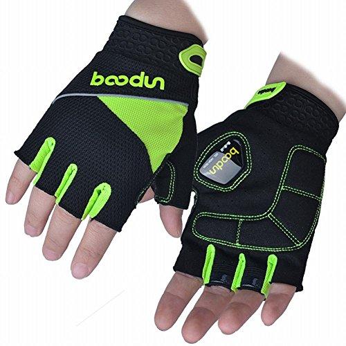 Jiaa Handschuhe halb Finger Handschuhe Silikon Schock Absorption Skid Männer und Frauen Fahrrad Ausrüstung,Leuchtendes Grü,XL -