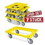 7x Logistikroller/Kistenroller für Behälter 600 x 400 mm, Tragkraft 250 kg, gelb