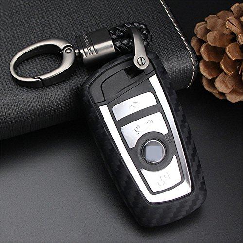 m. Jvisun morbida in silicone con struttura in fibra di carbonio modello di schermo per BMW portachiavi, auto chiave in custodia per BMW X3x 4M5M6GT3GT51234567series Remote Fob chiave, Black - Weave Keych