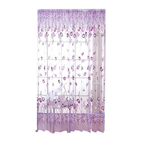 perfk Dekorative Gardinenschal Fensterschal Dekoschal für Wohnzimmer Kinderzimmer Schlafzimmer, 100 x 200cm - Lila, 100 x 200cm - Dekorative Bildschirme Als Raumteiler