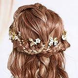 IYOU Haarreif mit Prinzessinnenblume, Kristalle und Perlen, für Mädchen und Frauen.