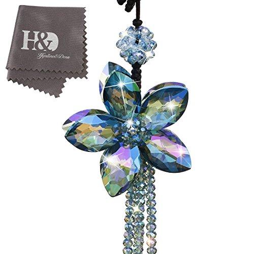 H&D Kristall Bunt Farbe Blume innen Zubehör Charms Anhängern für Auto Rückspiegel hängende Dekoration mit Quaste -