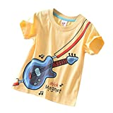 URSING Kinder T-Shirt Baumwolle Cartoon Drucken Jungen Mädchen Sommer Kurzarm Oberteil Pullover Crew Neck Casual blusen Freizeitbluse Sommerkleidung Kinderbekleidung (110, Gelb)