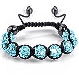 Jazooli Crystal Shambala Shamballa Style Disco Czech 9 Gem Stone Balls Bracelet - Turquoise