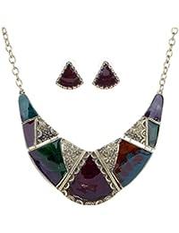 Yazilind oro vendimiae plateado en relieve Multicolor esmalte babero Collar Pendientes Collar de la joyería