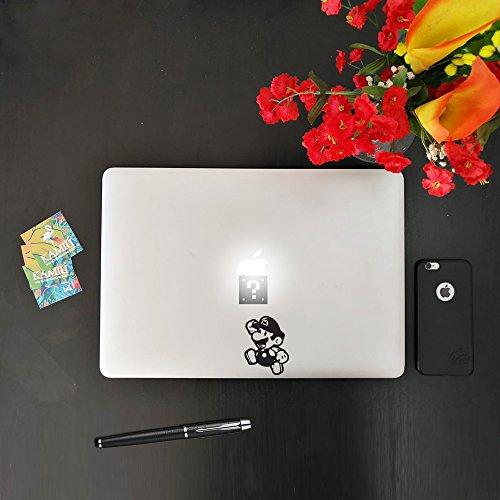 kamiustore Aufkleber für MacBook Notebook Laptop Modell Super Mario Replica Sticker aus Vinyl vorgegangen Schwarz -