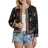 VONDA Women Floral Printed Embroidered Jacket Fringed Vintage Retro Short Cardigan Vest Coat Noir M