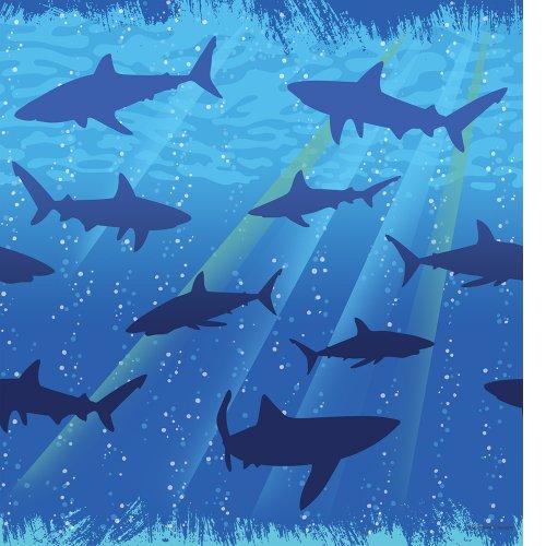 Unbekannt Kinderparty Deko Tischdecke Hai Fisch, 137x274 cm