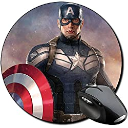 Capitan America Captain America Chris Evans E Alfombrilla Redonda Round Mousepad PC