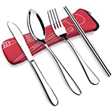 OFUN 4 Piezas Estuche Cubiertos, Cubiertos Oficina con Estuche de Neopreno, Cubiertos de Camping de Acero Inoxidable, Picnic Cubiertos Trabajo (Rojo)