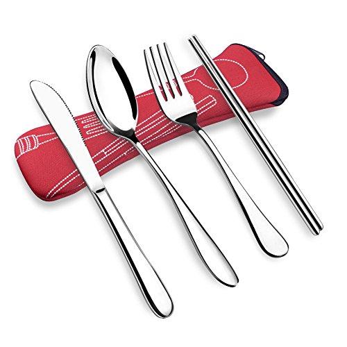OFUN 4PCS Cubiertos de Camping de Acero Inoxidable, Cubiertos Oficina con Estuche de Neopreno, Estuche Cubiertos Cubiertos Picnic (Rojo)