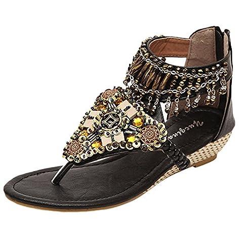 Oasap Women's Bohemian Wedge Heels Back Zip Beads Thong Sandals, Black EURO35/US4/UK2