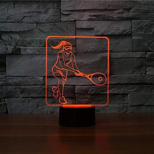 Kreative 3D Tennis Weibliche Spieler Modellierung Nachtlicht LED Tischlampe USB 7 Farben Ändern Leuchte Nacht Dekor Fans Geschenk -