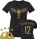 Comedy Shirts - WM 2014 - DEUTSCHLAND - DELUXE F1-VH-12 - Damen V-Neck T-Shirt - Schwarz/Gold Gr. XXL