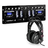 Resident DJ 405 USB DJ-Mischer DJ-Mixer Mischpult (schwarz mit Kopfhörer)