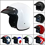 Leopard LEO-604 Open Face Helmet Scooter Motorcycle Motorbike Crash Helmet Road Legal Gloss White M