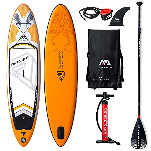 AQUA-MARINA Stand up Paddle Gonflable Sup AQUAMARINA Magma 2019 Pack Complet 330 81 15 10'10' x32''x6'' Unisex Adult, Orange Noir Blanc, 330x76x15cm 10''x30