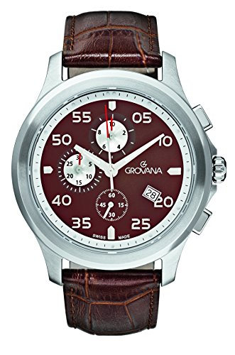 GROVANA 1633,9536-Orologio da uomo al quarzo, quadrante marrone, Display con cronografo e cinturino in pelle, colore: 1633,9536