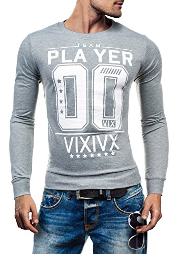 BOLF Herrenpullover Sweatshirt Sweatjacke Langarm Pullover 1A1 Grau