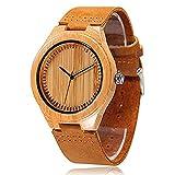 Cucol en bambou montres en bois pour homme décontracté Bracelet cuir de vache...