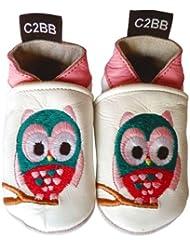 C2BB - Chaussons bébé cuir souple fille   Hibou
