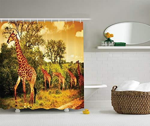 schvorhang Afrikanische Safari Tiere Walking im grünen Wald Savanne Wildlife Thema, Stoff Stoff Badezimmer Decor Set mit Haken, 75